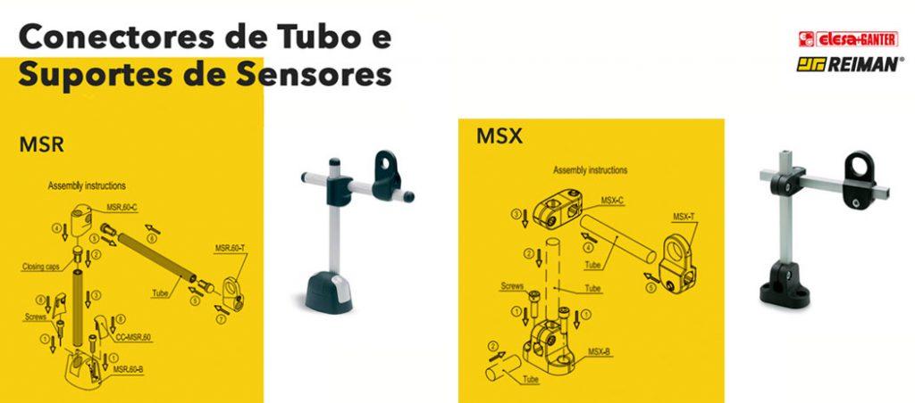 Conectores de tubo e suportes de sensores